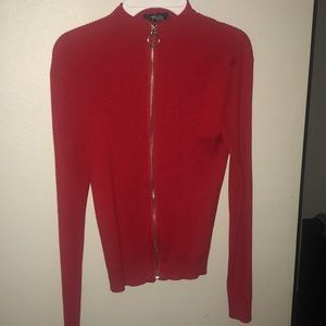 Long sleeved fire engine red sweater with zipper